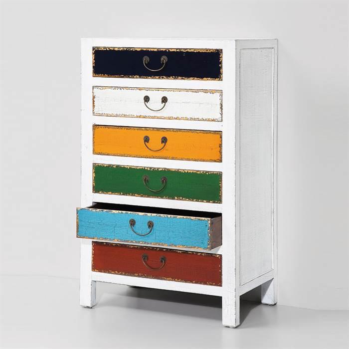 design hochkommode harlekin weiss holz schrank mit 6. Black Bedroom Furniture Sets. Home Design Ideas