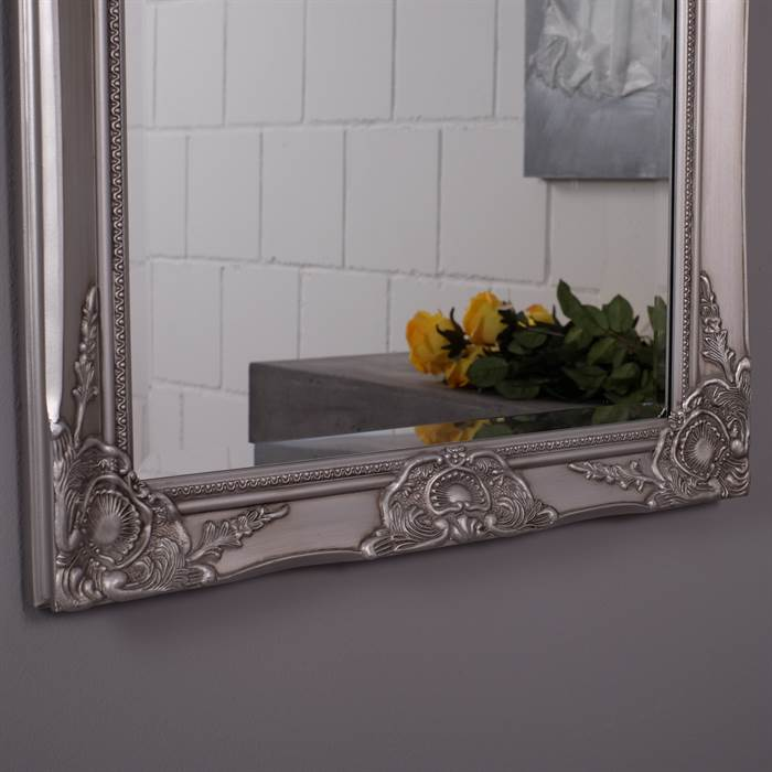 gro er spiegel silber 150x60x4 5 cm holz spiegel facettenspiegel verziert ebay. Black Bedroom Furniture Sets. Home Design Ideas