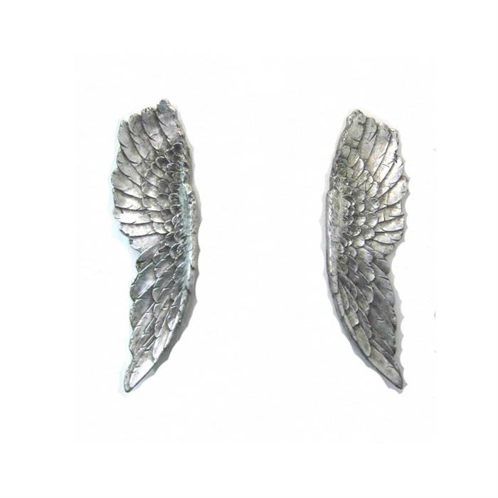 Huge design angel wings antique silver sculpture art for Angel wings wall decoration uk