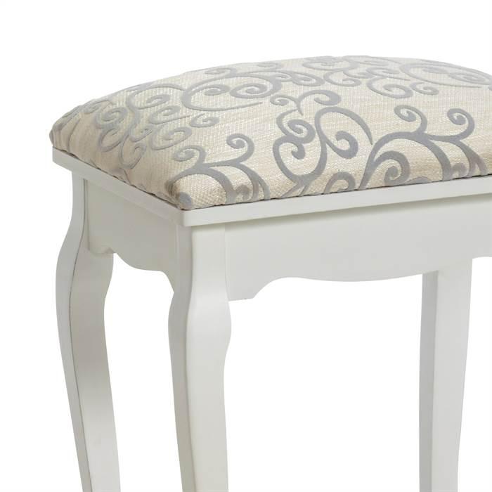 edler barock hocker f r schminktisch klavier stoff gepolstert wei ebay. Black Bedroom Furniture Sets. Home Design Ideas