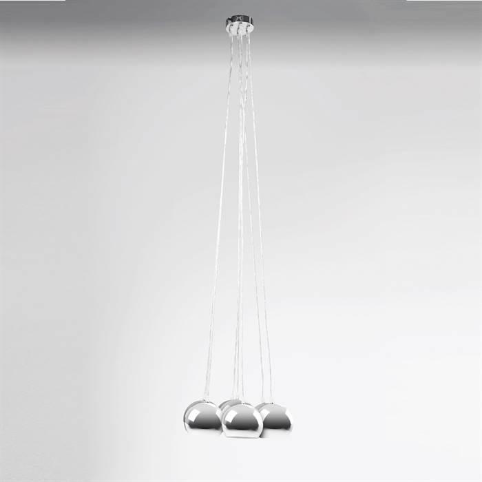 retro kugel lampe h ngelampe pendelleuchte esstischlampe silber chrom ebay. Black Bedroom Furniture Sets. Home Design Ideas