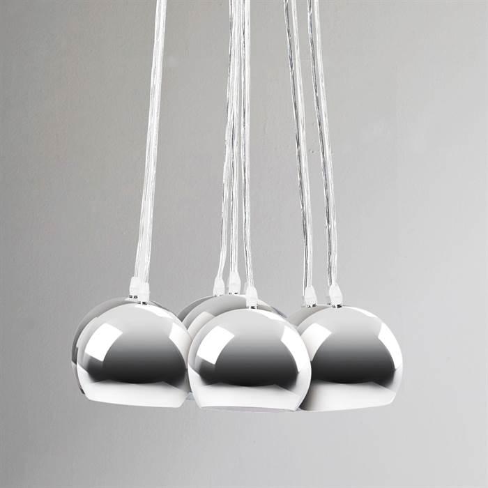 h ngeleuchte 7 kugeln lampe calotta chrom h ngelampe leuchte ebay. Black Bedroom Furniture Sets. Home Design Ideas
