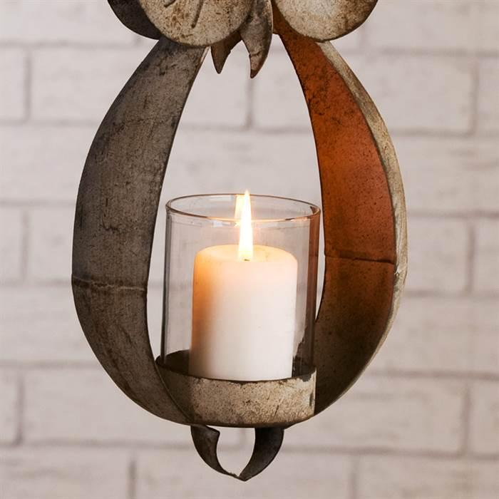 design windlicht eule teelicht zum aufh ngen kerze lampe aus metall. Black Bedroom Furniture Sets. Home Design Ideas