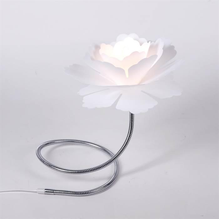 blumige lounge tischleuchte florcita mit blumenschirm weiss - Nachttischlampen