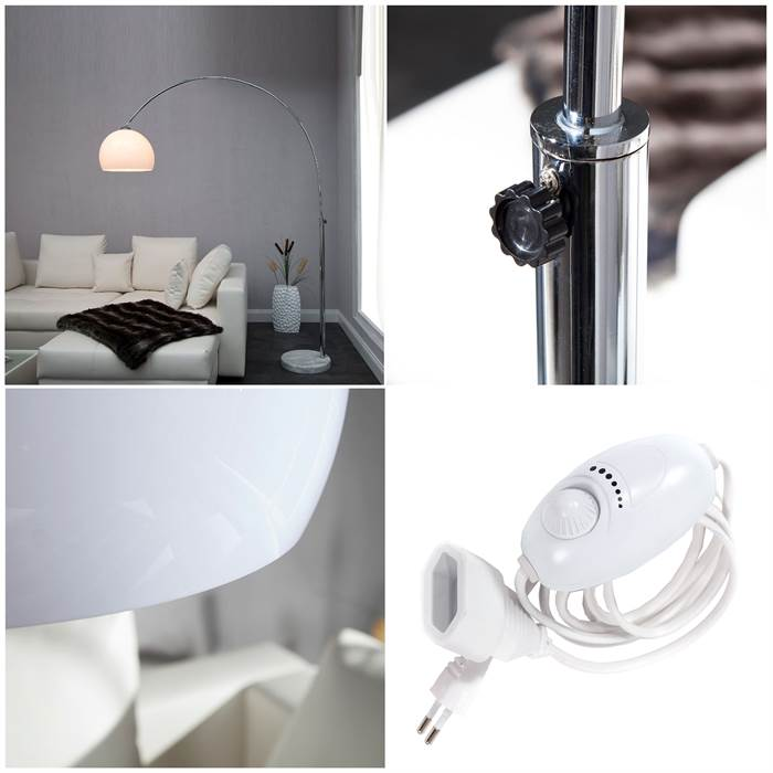 big bow bogenlampe wei design stehlampe dimmer dimmbare wohnzimmerlampe ebay. Black Bedroom Furniture Sets. Home Design Ideas
