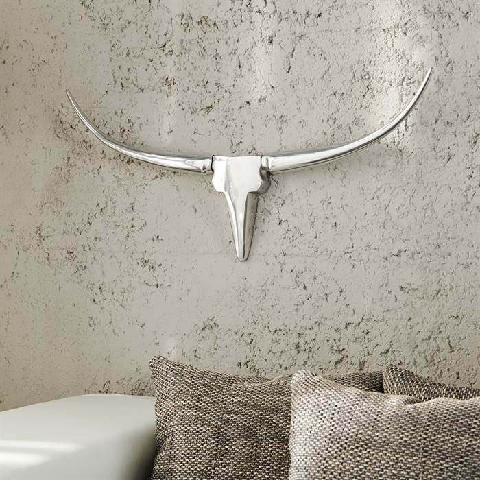 alu stier h rner taureau deko geweih wandbild jagdtroph e silber 75 ebay. Black Bedroom Furniture Sets. Home Design Ideas