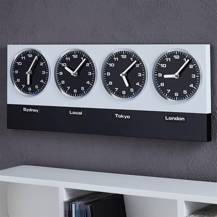 Moderne Wanduhr GLOBAL 4 Uhrwerke Und Magnete Silber Schwarz