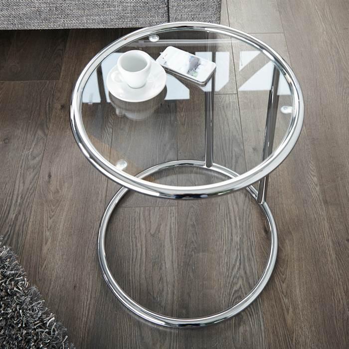 design beistelltisch galano glastisch silber rund 40 cm ebay. Black Bedroom Furniture Sets. Home Design Ideas