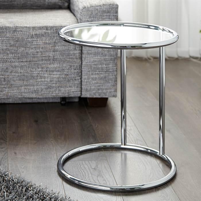 design beistelltisch galano glastisch wohnzimmertisch silber rund 40 cm ebay. Black Bedroom Furniture Sets. Home Design Ideas