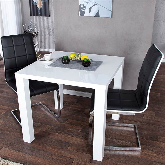 design k chentisch malm 80x80 cm esstisch bistrotisch hochglanz wei ebay. Black Bedroom Furniture Sets. Home Design Ideas