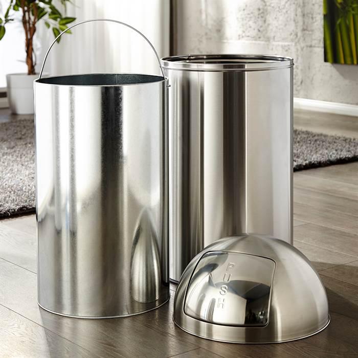 cooler push m lleimer 50 liter chrom 76x35cm extra gro k chen abfalltonne ebay. Black Bedroom Furniture Sets. Home Design Ideas