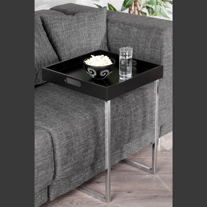 quadratischer design beistelltisch tablett schwarz tabletttisch lesetisch ebay. Black Bedroom Furniture Sets. Home Design Ideas