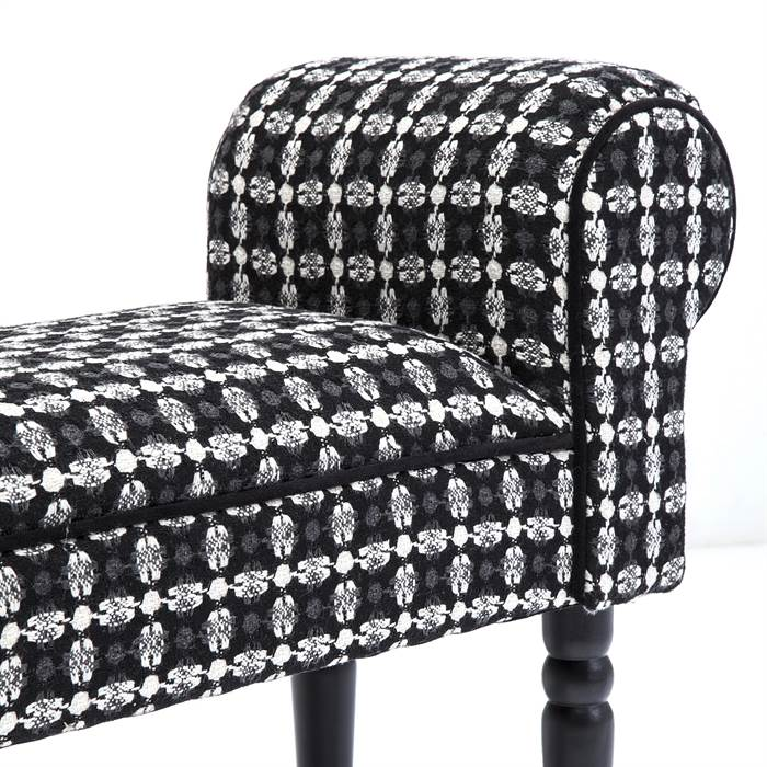 design sitzbank lola bank polsterbank 100cm gepolstert schwarz wei ebay. Black Bedroom Furniture Sets. Home Design Ideas