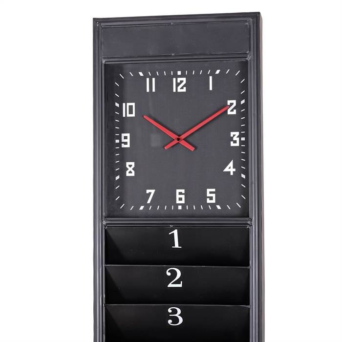 metall wanduhr operator schwarz 190x36x8 cm eisen mit 14 ablagef chern ebay. Black Bedroom Furniture Sets. Home Design Ideas