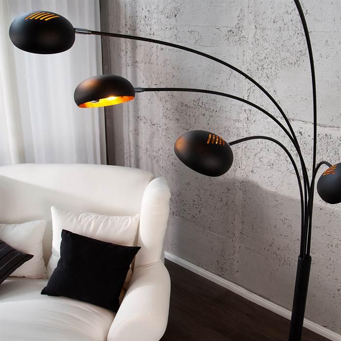 gro e stehlampe 5 five fingers schwarz gold 205x150x35. Black Bedroom Furniture Sets. Home Design Ideas