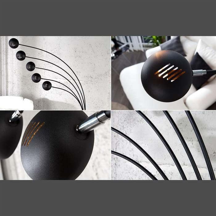 design stehlampe 5 five fingers schwarz gold 205x150x35cm metall 5 flammig ebay. Black Bedroom Furniture Sets. Home Design Ideas