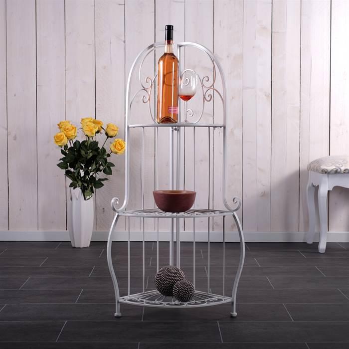 eckregal antik eisen 3 ablagen standregal landhaus 93 cm wei ebay. Black Bedroom Furniture Sets. Home Design Ideas