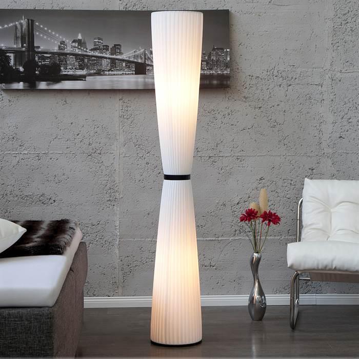 Details zu MODERNE DESIGN STEHLAMPE ELEGANCE weiß, H170 Ø25-50cm ...