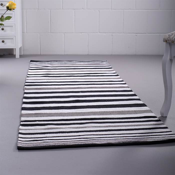 streifen teppich stripes ca 70x200 cm grau wei schwarz l ufer ebay. Black Bedroom Furniture Sets. Home Design Ideas