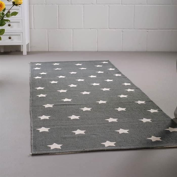 teppich stars grau wei 70x200 cm baumwolle l ufer mit muster sterne ebay. Black Bedroom Furniture Sets. Home Design Ideas