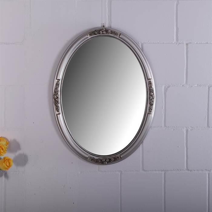 Barock spiegel mia rahmen oval 77 cm silber for Spiegel oval silber