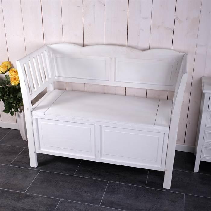 shabby style sitzbank s ren mit stauraum wei bank landhaus stil ebay. Black Bedroom Furniture Sets. Home Design Ideas