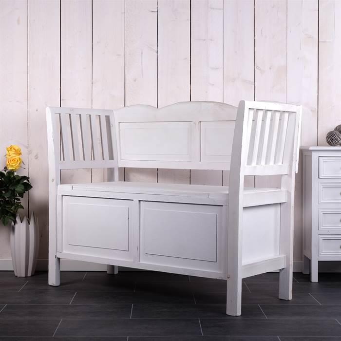 landhaus sitzbank s ren sitztruhe mit klappe wei. Black Bedroom Furniture Sets. Home Design Ideas
