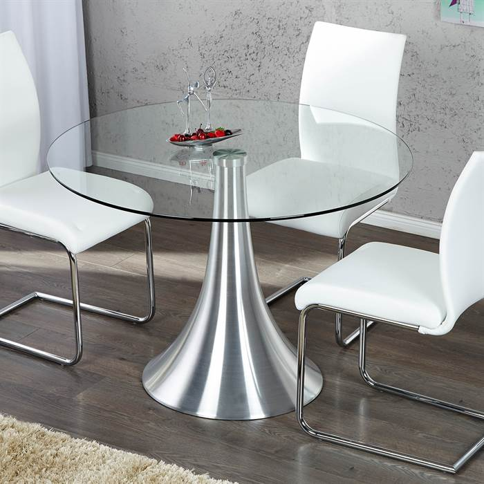 edler glas esstisch diva 110 cm sicherheitsglas aluminium glastisch ebay. Black Bedroom Furniture Sets. Home Design Ideas