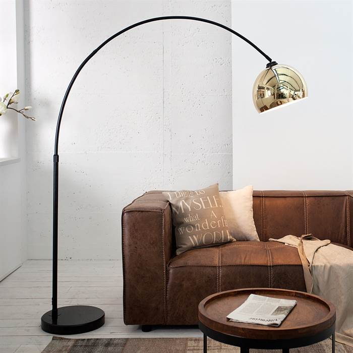 bogenleuchte big bow gold 170 210 cm schwarz gold stehlampe ausziehbar ebay. Black Bedroom Furniture Sets. Home Design Ideas