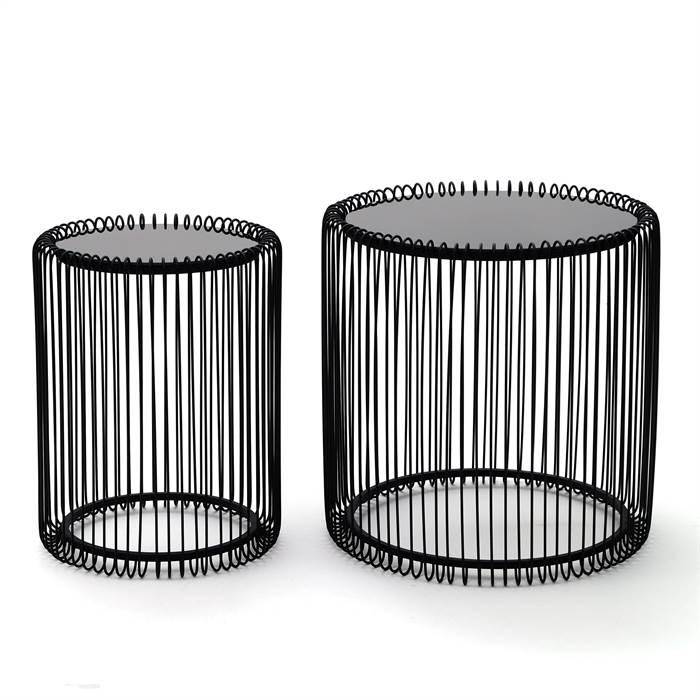 2er set kare beistelltische wire black schwarz rund for Couchtisch filigran
