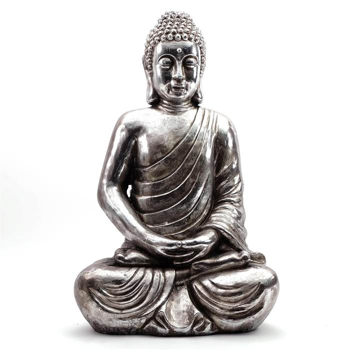 riesiger buddha asia antik silber 90x58x39 cm kunststein deko skulptur ebay. Black Bedroom Furniture Sets. Home Design Ideas