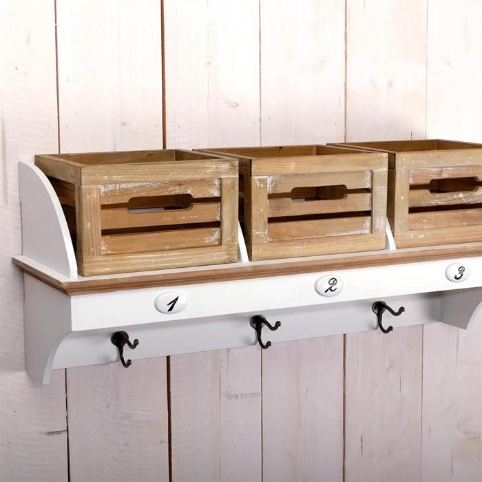 landhaus flur garderobe lilou 3 haken 3 k rbe wandgarderobe shabby style. Black Bedroom Furniture Sets. Home Design Ideas