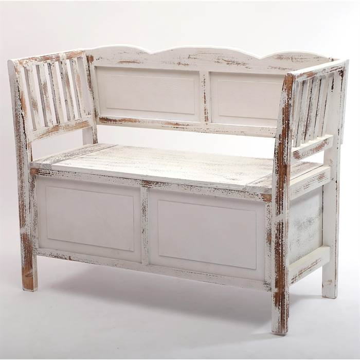 vintage bank farm shabby chic wei braun 105 cm sitzbank mit stauraum ebay. Black Bedroom Furniture Sets. Home Design Ideas