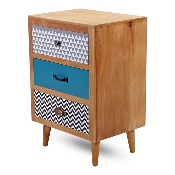 kleine kommode retro mehrfarbig 66x44x33 cm nachttisch 3 schubladen ebay. Black Bedroom Furniture Sets. Home Design Ideas