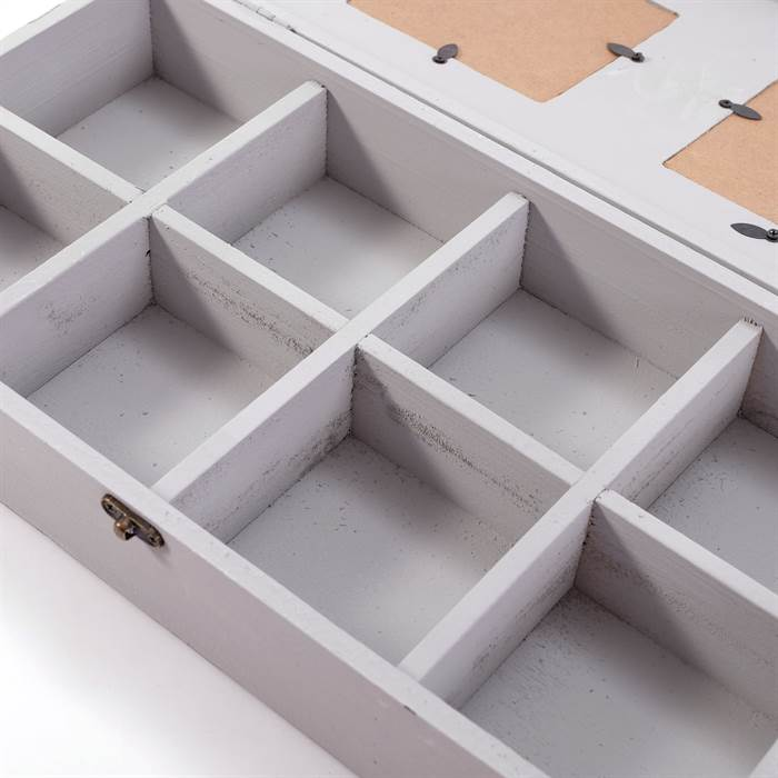 shabby foto setzkasten florenz 8 f cher wei bilderrahmen sammelbox ebay. Black Bedroom Furniture Sets. Home Design Ideas
