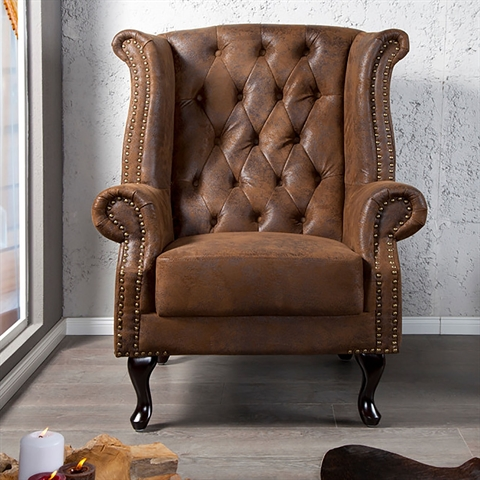 large design wing back chair royal upholstered fabric armchair ebay. Black Bedroom Furniture Sets. Home Design Ideas