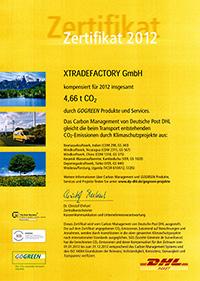 DHL GoGreen Zertifikat 2012 xtradefactory.com