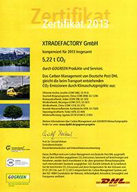 DHL GoGreen Zertifikat 2013 xtradefactory.com
