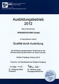IHK Zertifikat 2012 xtradefactory.com