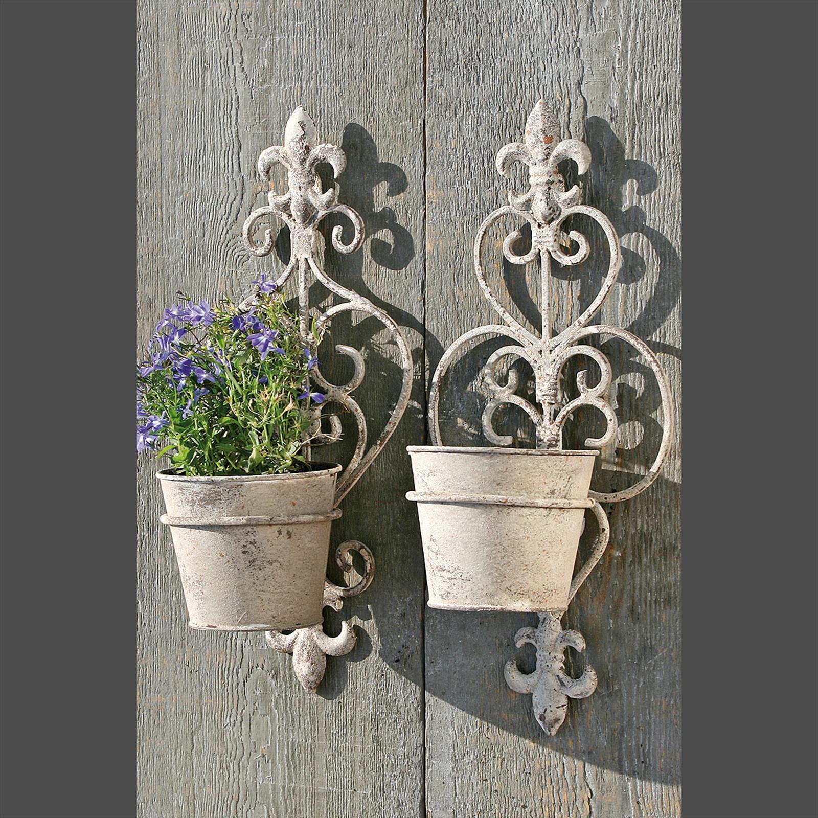 Image Is Loading 2 Wall Mount Flower Pots Grey 13 5