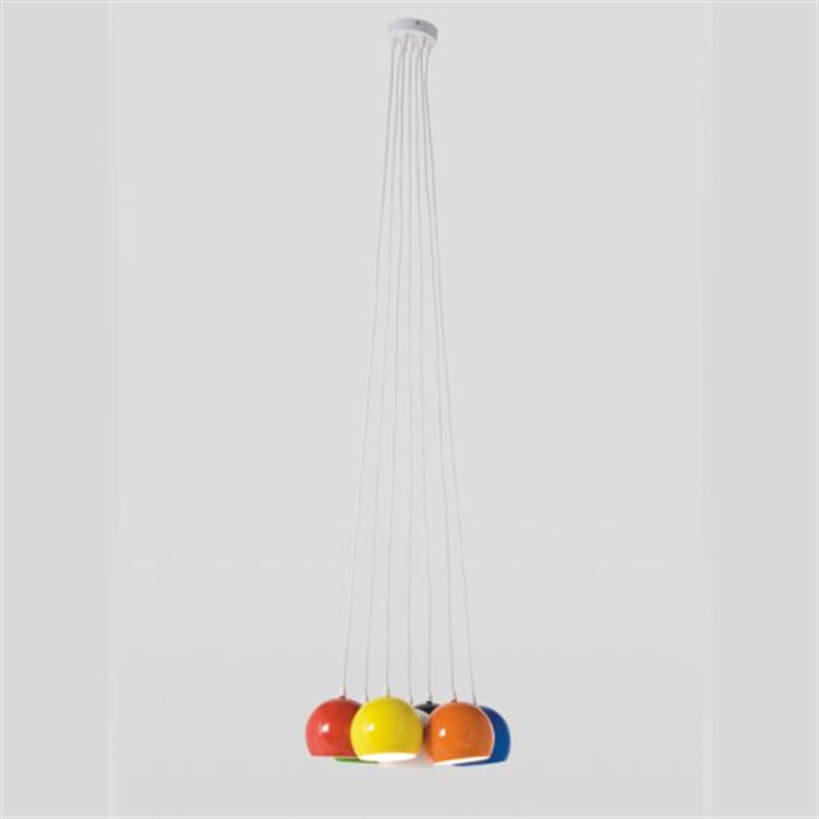 design h ngeleuchte 7 kugeln lampe carlotta bunt h ngelampe pendel leuchte eur 118 00. Black Bedroom Furniture Sets. Home Design Ideas