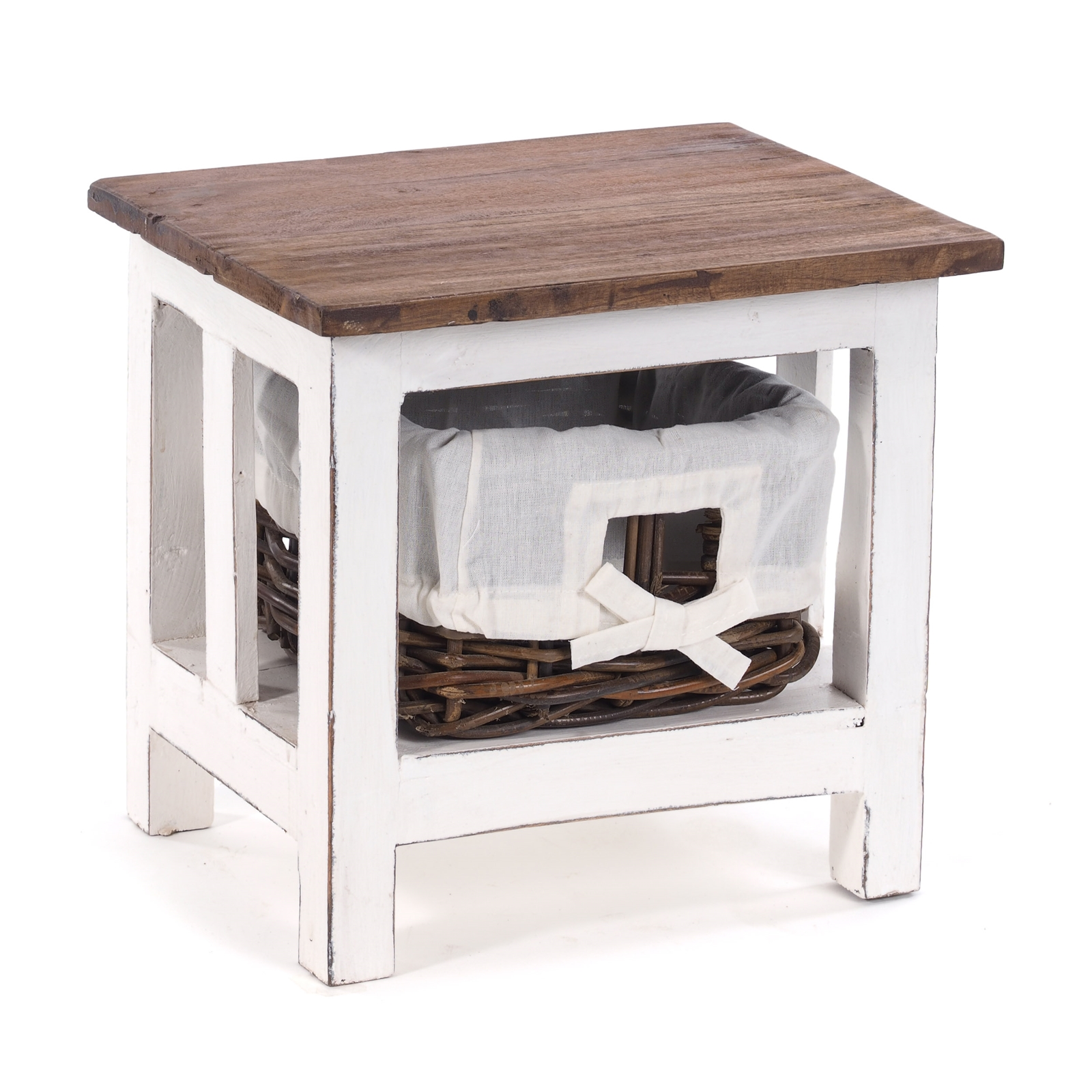 Table De Chevet Rotin 40x35x30 Cm Bois Recycle Peu Commode