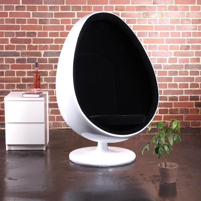 Egg Pod Chair White Black Retro Design Ball Shell