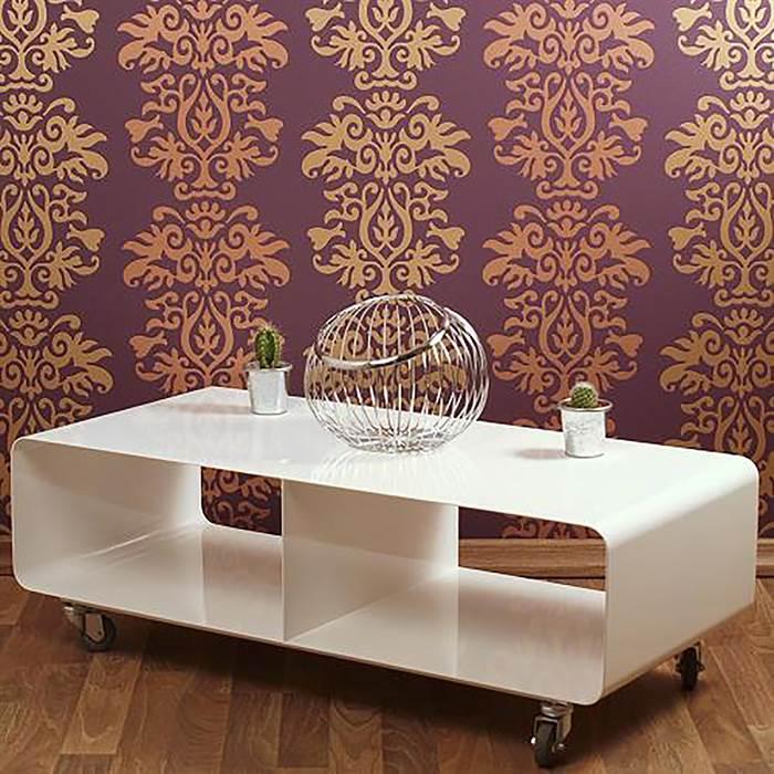 design lounge tv tisch wagen rollregal couchtisch runden ecken retro club weiss ebay. Black Bedroom Furniture Sets. Home Design Ideas