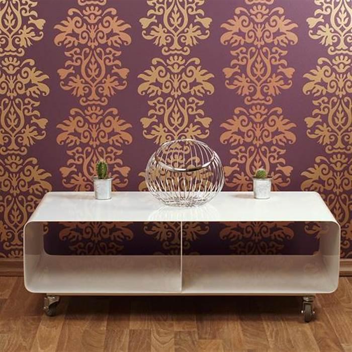 Design lounge tv tisch wagen rollregal couchtisch runden for Couchtisch mit runden ecken