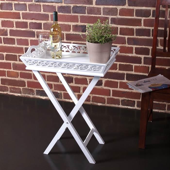 design holz tablett landhaus stil mit tisch wei gekalkt tablet mit st nder 4250371509909 ebay. Black Bedroom Furniture Sets. Home Design Ideas