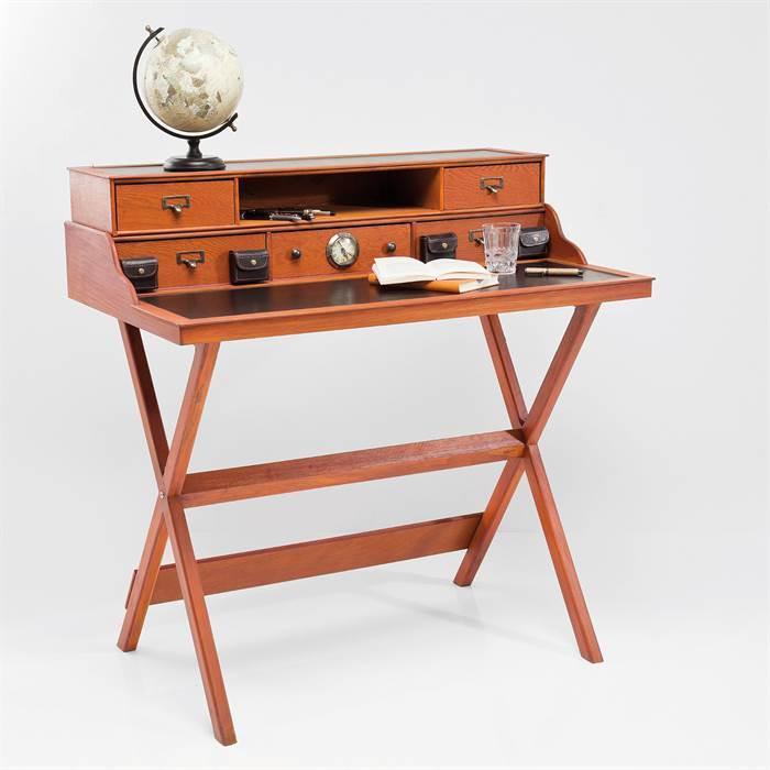 massivholz sekret r colonia l 100 cm braun schreibtisch mit schubladen ebay. Black Bedroom Furniture Sets. Home Design Ideas