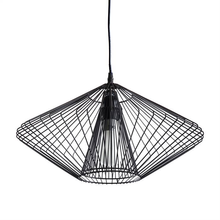 coole h ngelampe wire 28x45cm schwarz draht design pendelleuchte ebay. Black Bedroom Furniture Sets. Home Design Ideas