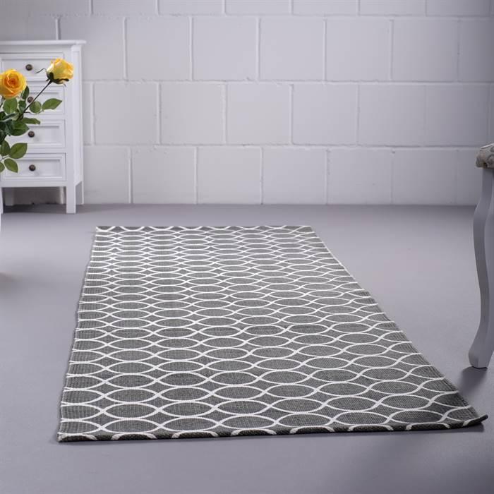 retro flur l ufer grau wei mit kreisen ca 70x200 cm. Black Bedroom Furniture Sets. Home Design Ideas
