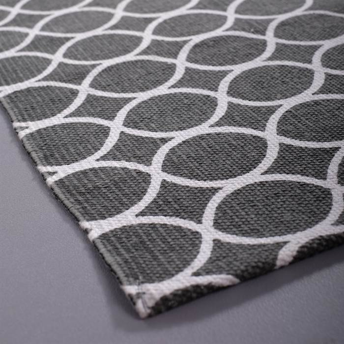 Grau weiss teppich  RETRO FLUR LÄUFER | grau-weiß mit Kreisen, ca. 70x200 cm | Teppich ...